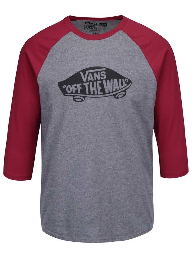 Červeno-sivé melírované pánske tričko s 3/4 rukávmi a potlačou Vans Raglan