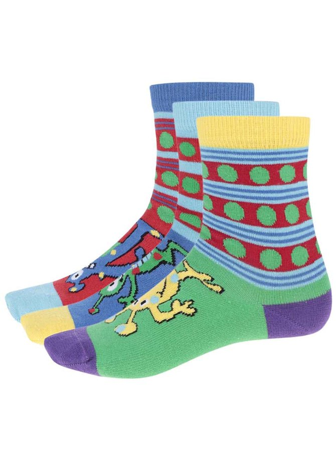 Sada tří barevných dětských ponožek Oddsocks Monster