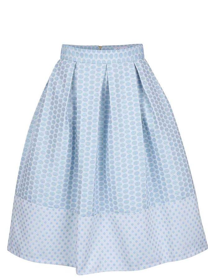 Modrá midisukňa so vzorom Closet