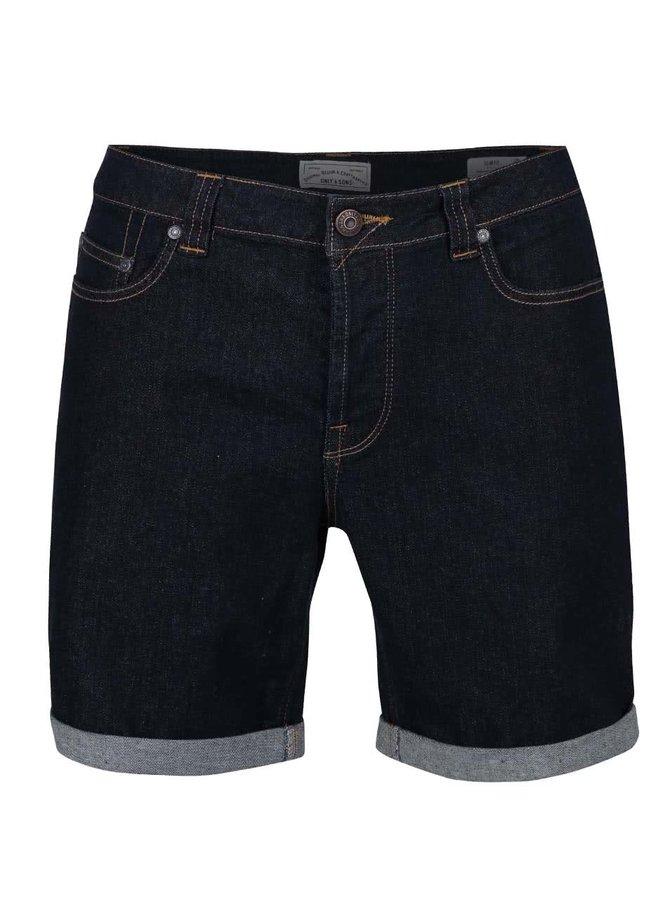 Tmavě modré džínové slim fit kraťasy ONLY & SONS Loom