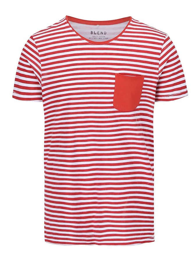 Červené pruhované tričko s vreckom Blend