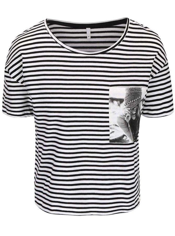 Krémové triko s černými pruhy ONLY Daze