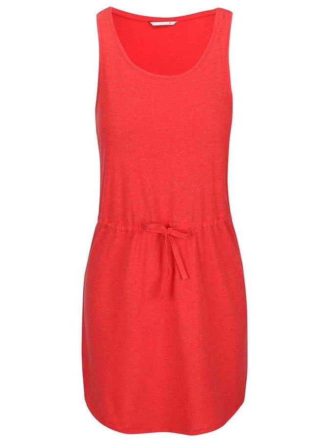 Červené šaty so stiahnutím v páse ONLY May