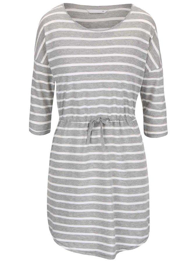 Krémovo-šedé pruhované šaty s 3/4 rukávem ONLY May