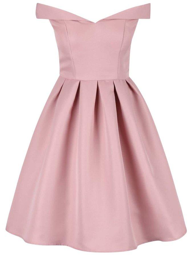 Růžové šaty se spadenými rameny Chi Chi London Dulce