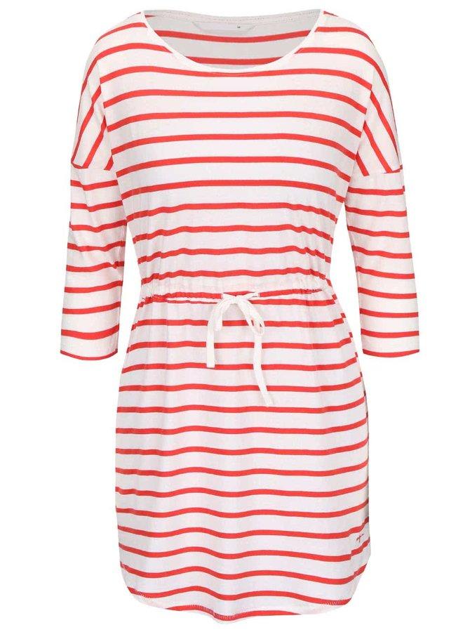 Červeno-krémové pruhované šaty s 3/4 rukávom ONLY May