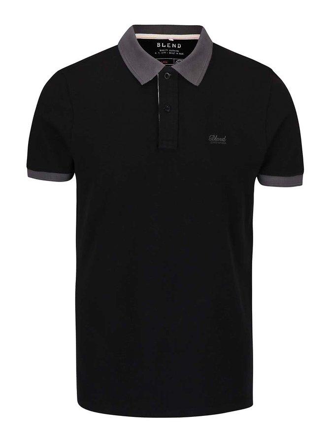 Černé polo triko s límečkem Blend