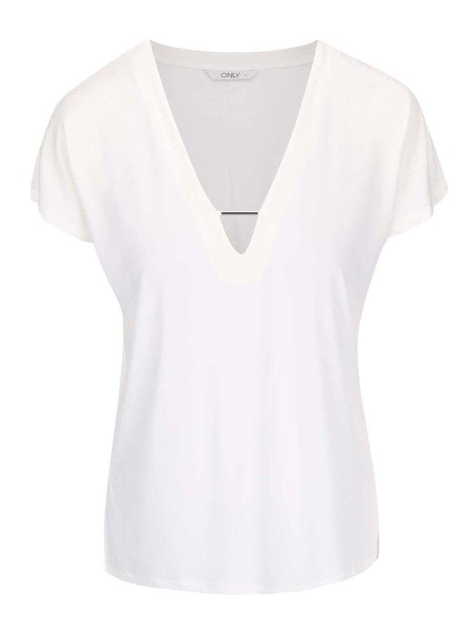 Krémové tričko s ozdobným výstřihem ONLY Zig