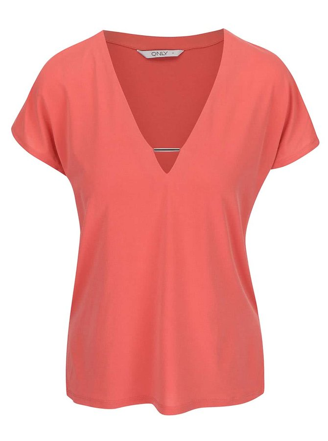 Koralové tričko s ozdobným výstrihom ONLY Zig