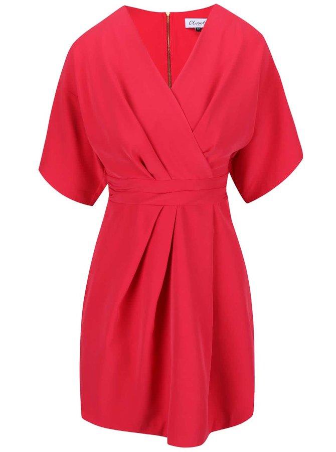Malinové šaty s kimonovým rukávom Closet