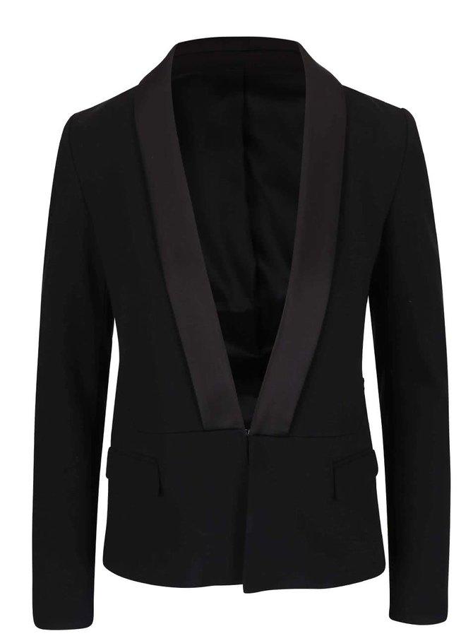 Čierne sako s lesklým lemovaním KARL LAGERFELD