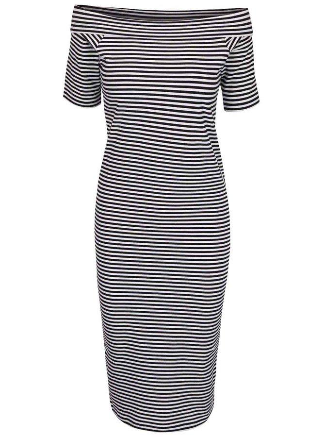 Krémovo-černé šaty s lodičkovým výstřihem ONLY Live Love