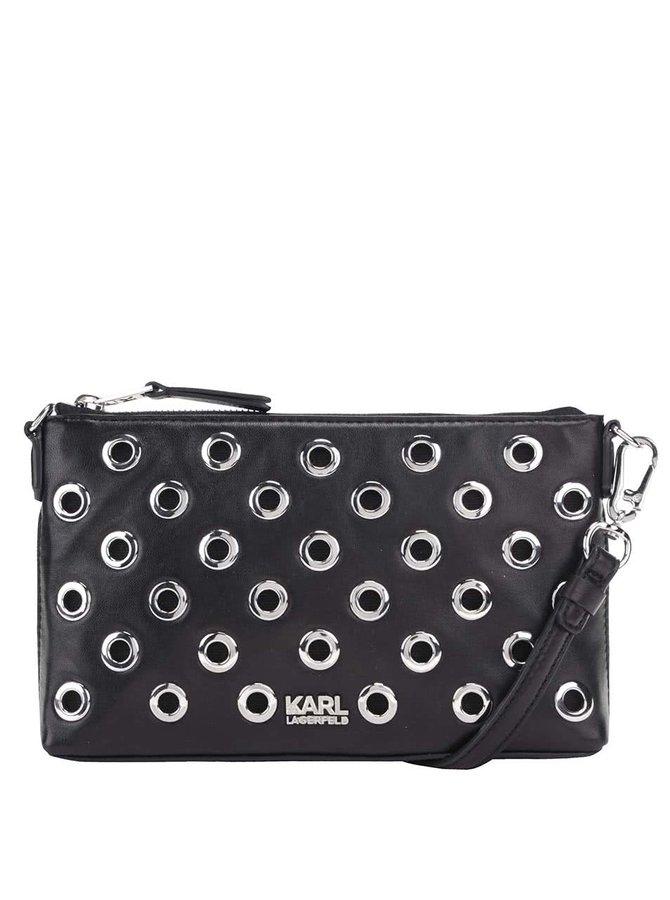 Čierna kožená crossbody/listová kabelka s detailmi v striebornej farbe KARL LAGERFELD