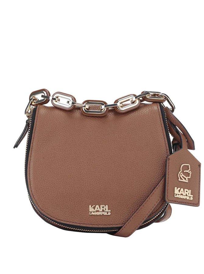 Hnedá kožená crossbody kabelka KARL LAGERFELD