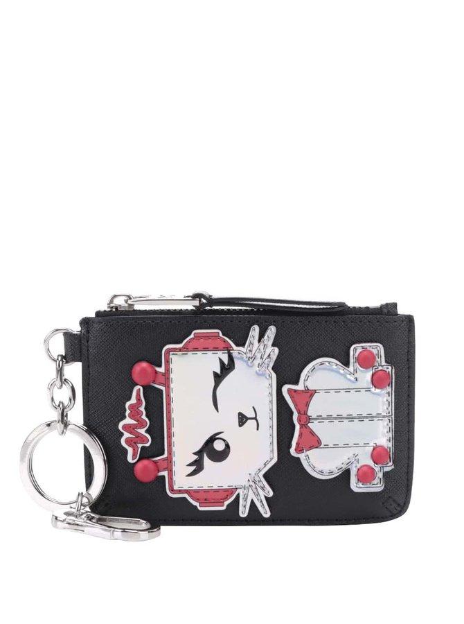 Čierna peňaženka na mince s aplikáciou mačky KARL LAGERFELD