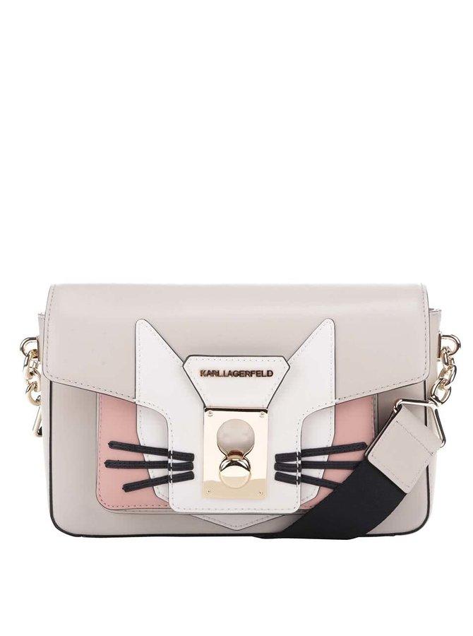 Šedobéžová kožená crossbody kabelka s motivem kočky KARL LAGERFELD