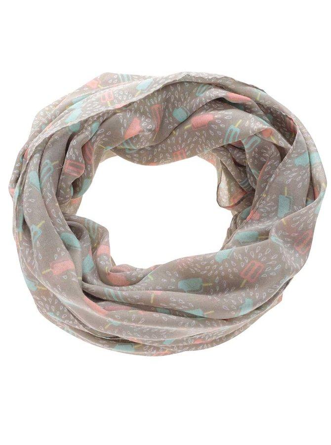Světle hnědý dutý šátek se vzorem nanuků Pieces Buut
