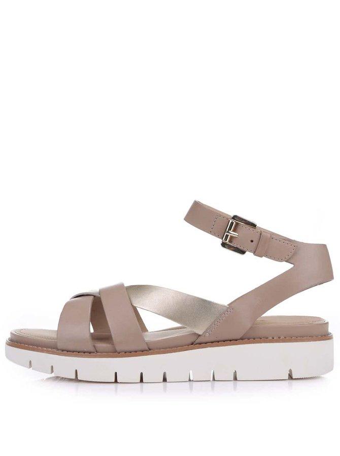 Béžové kožené sandálky na silné podrážce Geox Darline
