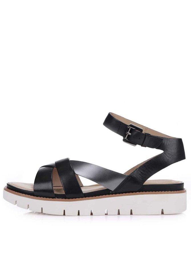 Čierne kožené sandálky na hrubšej podrážke Geox Darline