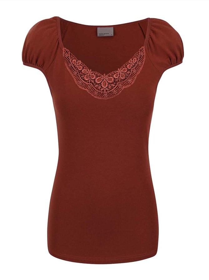 Tricou Vero Moda Inge roșu închis