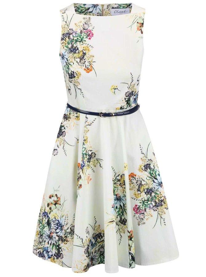 Krémové květinové šaty s páskem Closet