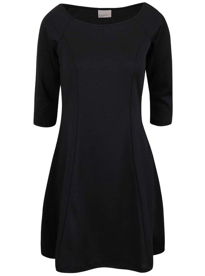 Čierne šaty s 3/4 rukávmi VERO MODA Kari