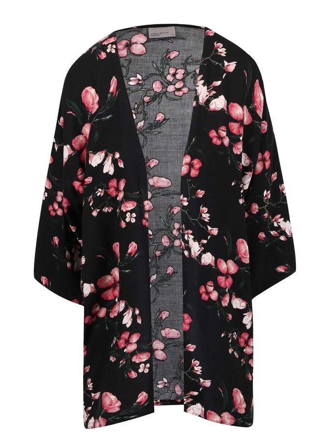 Černé květované kimono VERO MODA Super Easy