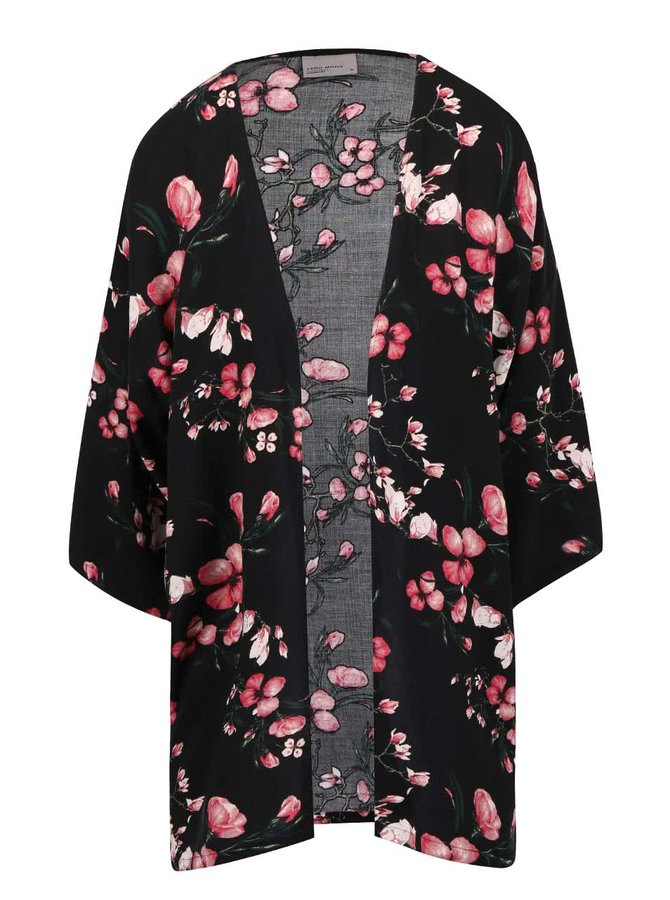 Kimono VERO MODA Super Easy negru cu imprimeu