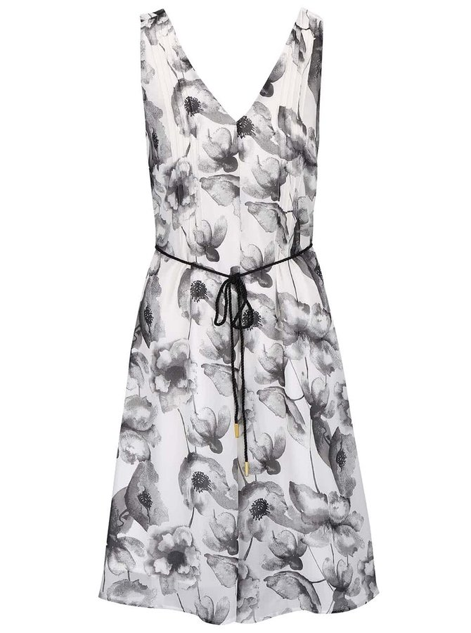 Sivo-krémové kvetované šaty s opaskom VERO MODA Flower Cherry