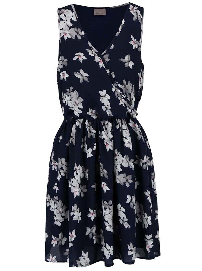 Tmavomodré kvetované šaty VERO MODA Dolly
