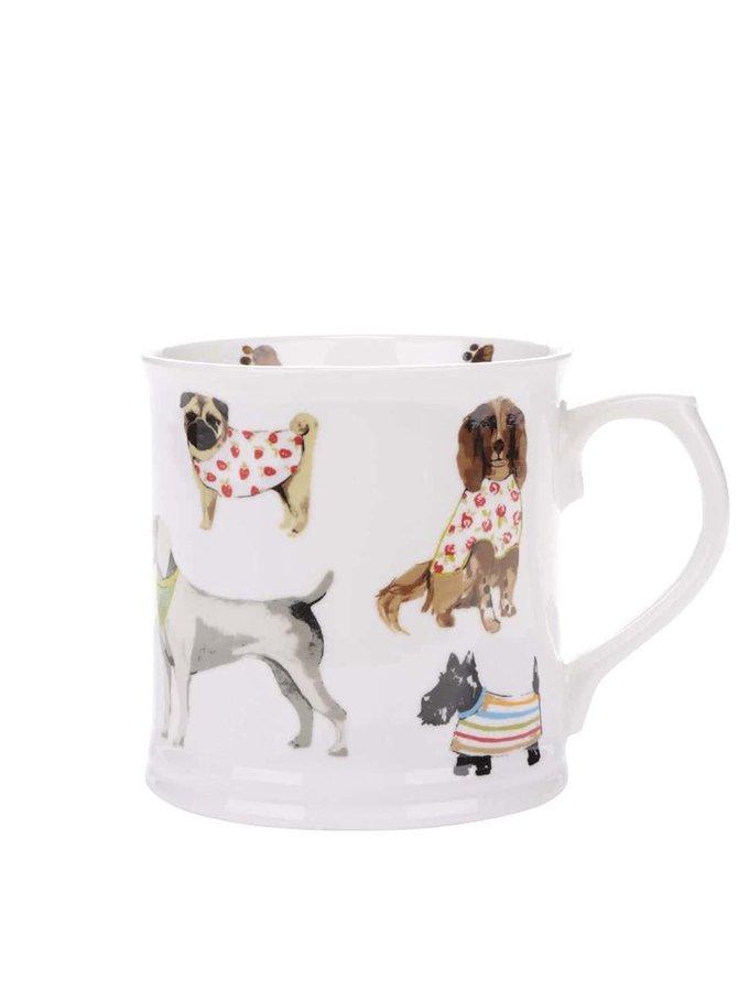 Bílý porcelánový hrnek s motivy psů Cooksmart Best in show