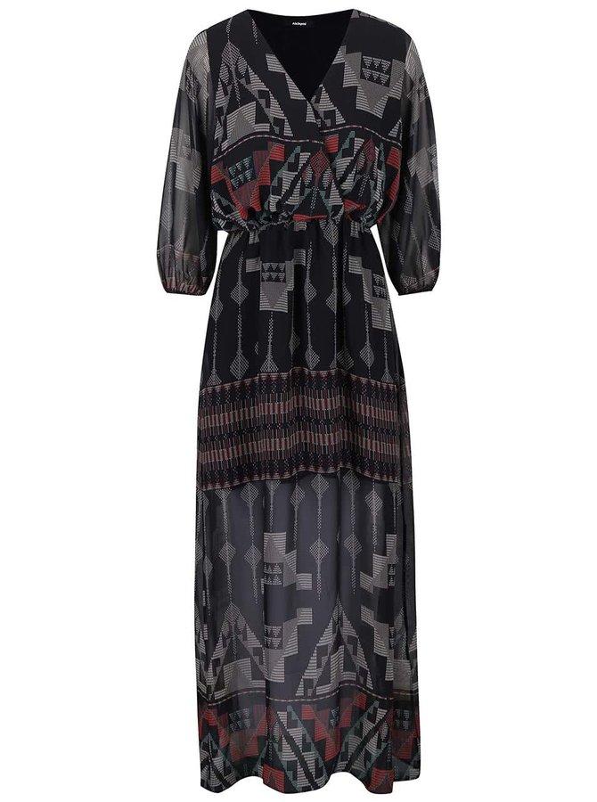 Čierne dlhé šaty so vzorom Alchymi Malachite