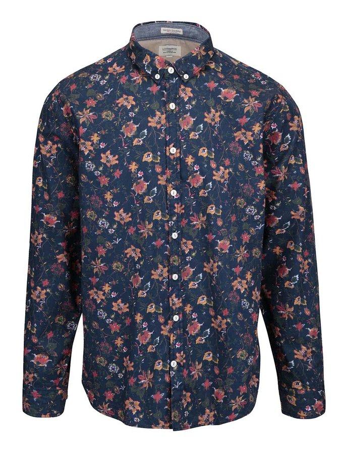 Modrá pánska košeľa s kvetinovým vzorom Lindbergh