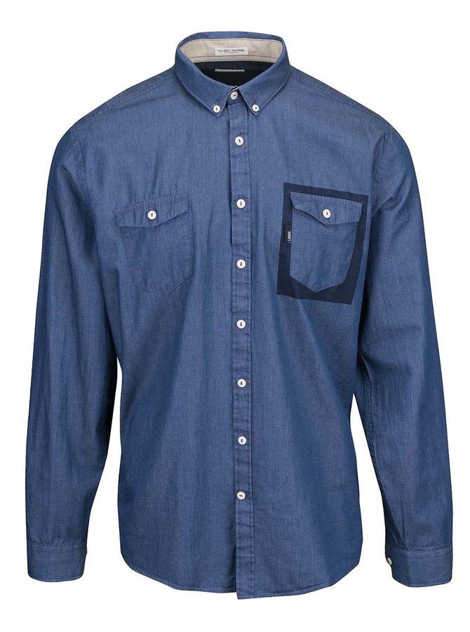 Světle modrá pánská košile s výraznou kapsou Lindbergh