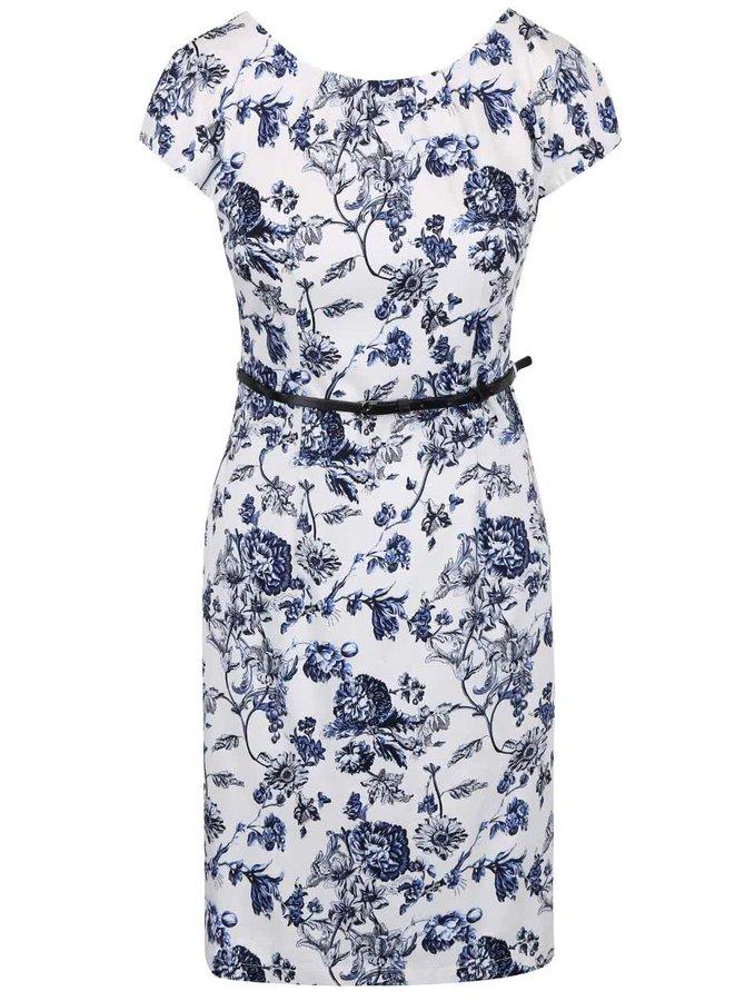 Krémové šaty s modrými květy a páskem Smashed Lemon