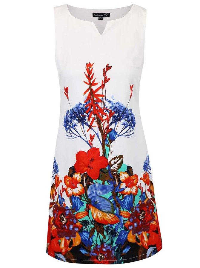 Krémové šaty s pestrobarevnými květy Smashed Lemon