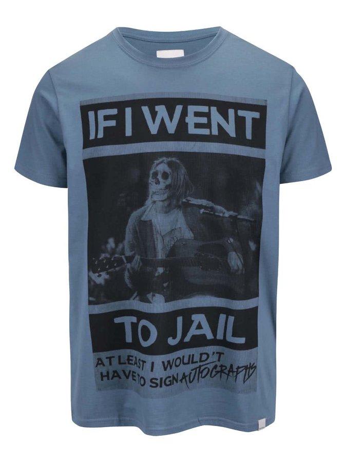 Tricou Shine Original Jail albastru cu mesaj
