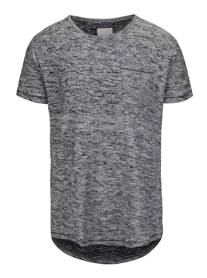 Šedo-černé žíhané tričko s náprsní kapsou Shine Original