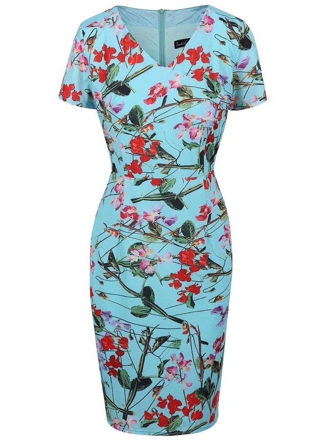 Tyrkysové kvetované šaty s krátkym rukávom Smashed Lemon