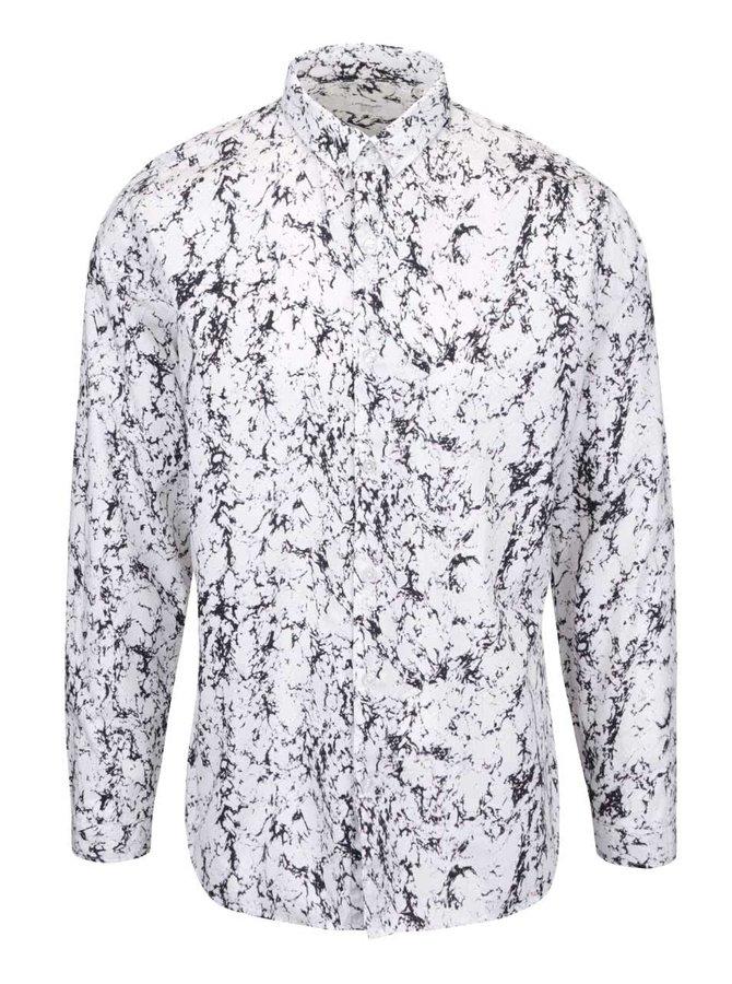 Biela košeľa s mramorovým vzorovaním Lindbergh