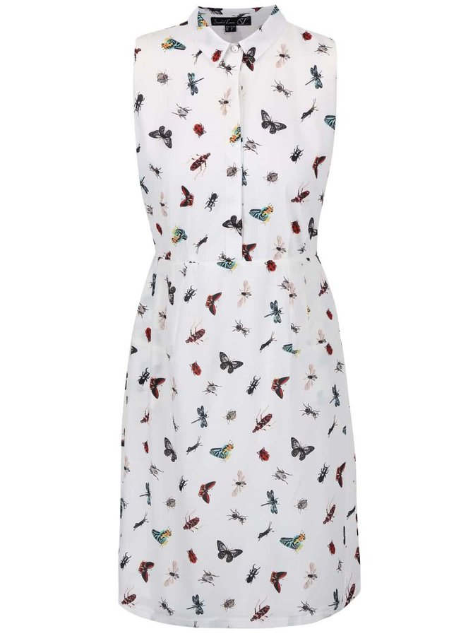 Krémové šaty s límečkem a potiskem hmyzu Smashed Lemon