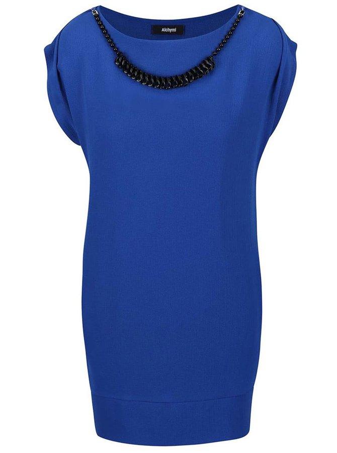 Modré šaty s korálkami vo výstrihu a tielkom Alchymi Nemesia