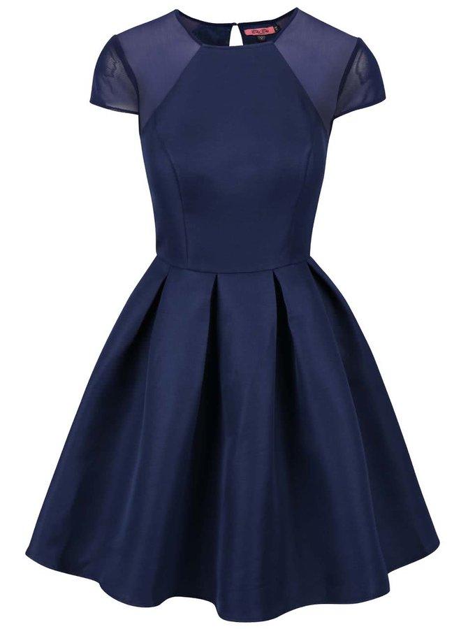 Tmavě modré šaty se skládanou sukní Chi Chi London Felicia
