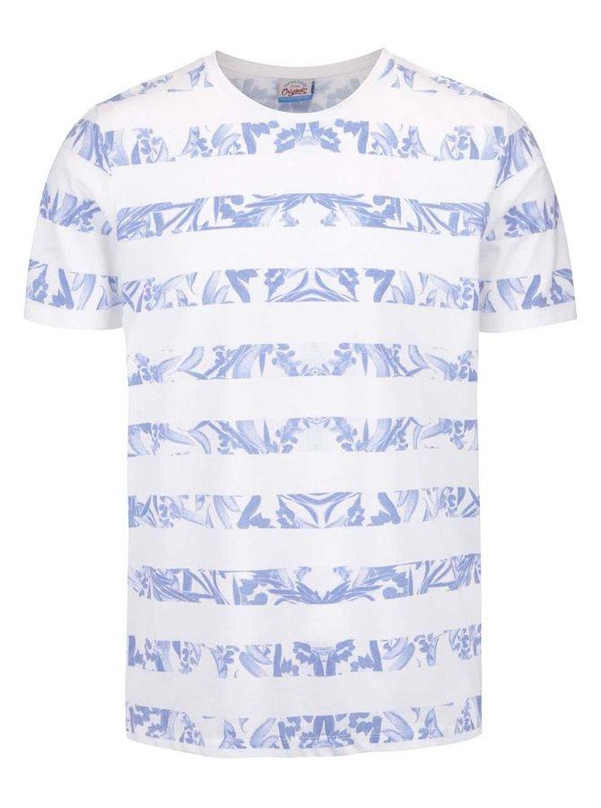 Biele tričko s pruhmi Jack & Jones Hole