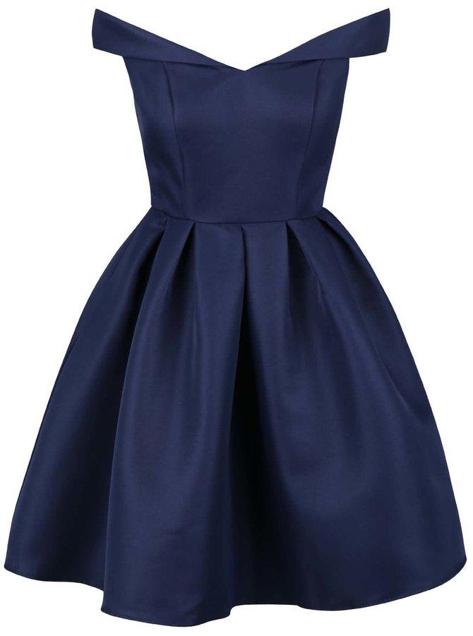 Tmavě modré šaty se spadlými rameny Chi Chi London Portia