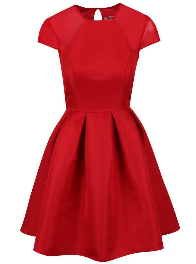 Červené šaty so skladanou sukňou Chi Chi London Marley