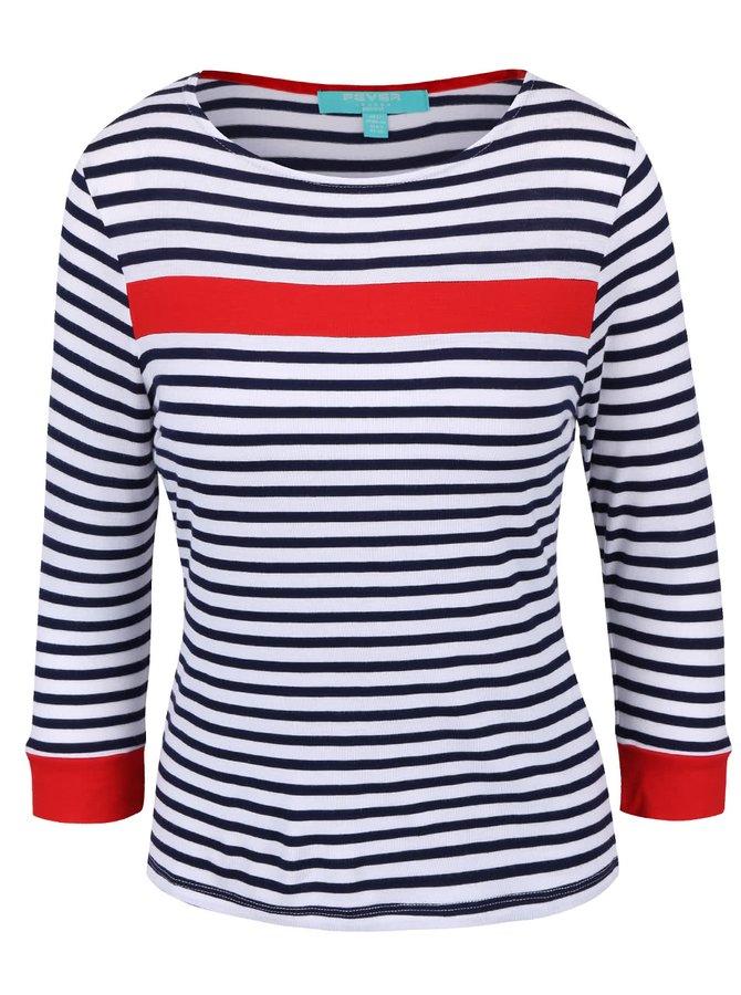 Modro-biely top s červenými pruhmi Fever London Bardot