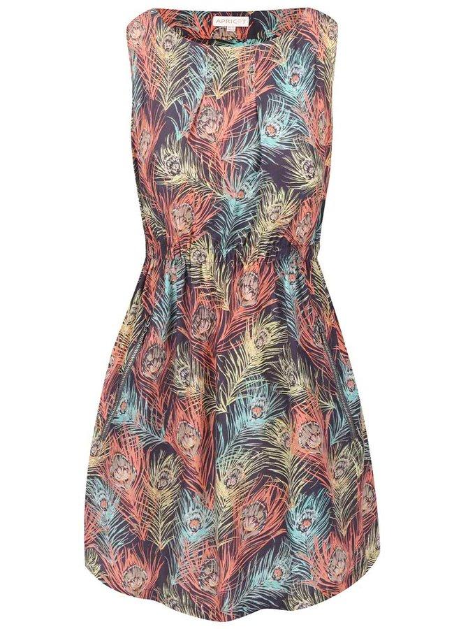 Hnědošedé šaty s motivem pavích per Apricot