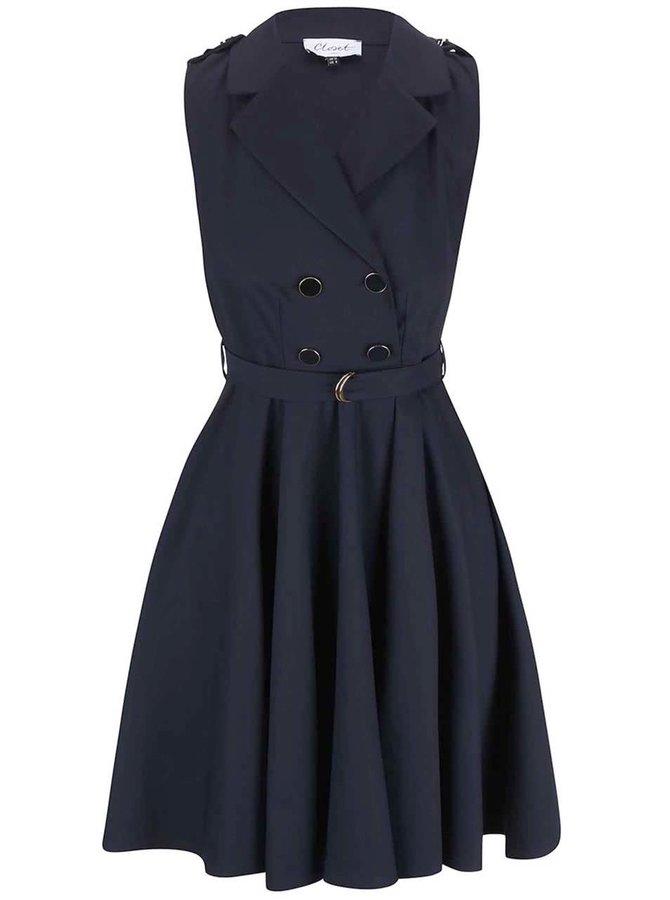 Tmavomodré šaty s dvojradovým zapínaním Closet