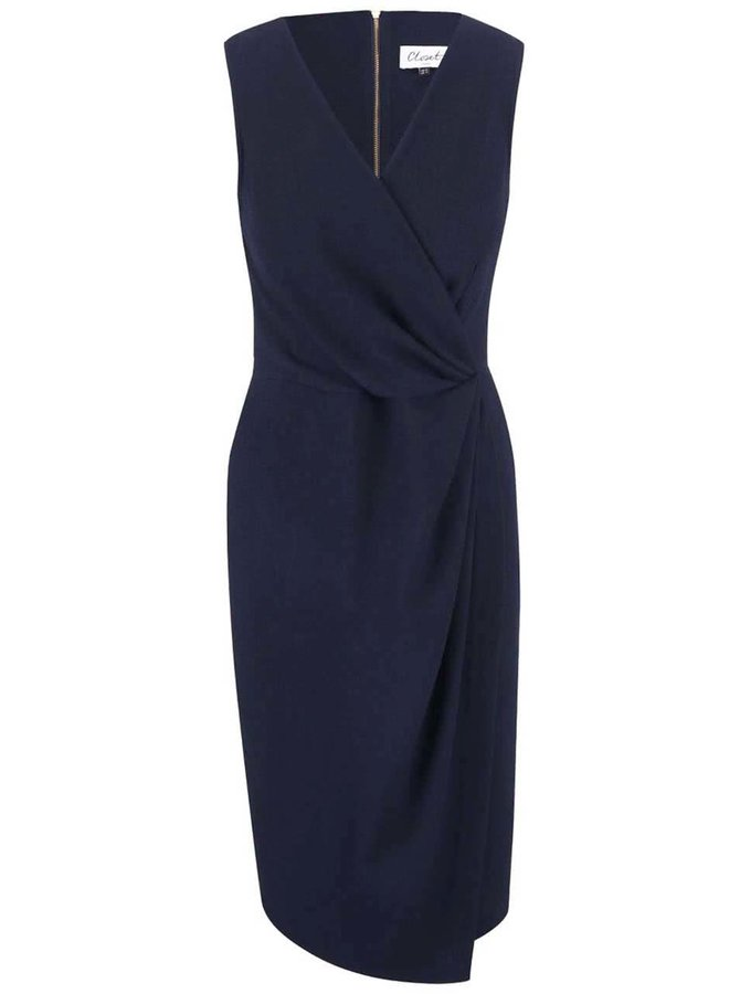 Tmavomodré šaty s véčkovým výstrihom Closet